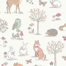 Tessuto Woodland Animali Coniglio CONIGLIETTI FOX GUFO Cervo tessuto di cotone 100% 136 cm