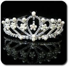Luxus Tiara Diadem Haarreif Kristall Strass Kranz Krone Hochzeit Kommunion Braut