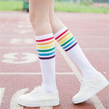 1Pair Thigh High Socks Over Knee Rainbow Stripe Girls Football Socks Ladies