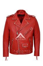 Stud Brando para Hombre Diseñador Rojo Real Rojo Cuero Moto Chaqueta de motorista