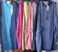 LADIES NEW ITALIAN SUMMER SUN COTTON STRIPE DESIGN LONG DRESS 2 POCKETS 12 TO 20
