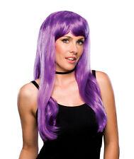Womens Long Purple Wig Bangs Sexy Nikki Minaj Parody Halloween Costume Adult NEW