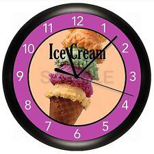 ICE CREAM CONE WALL CLOCK PERSONALIZED PARLOR YOGURT SHOP BAKERY SWEET TREAT