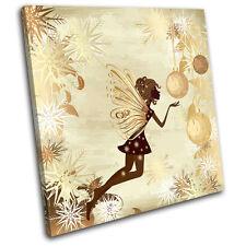 Fairy Snowflakes Illustration SINGLE CANVAS WALL ART Picture Print VA