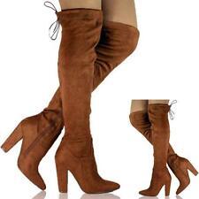 Nuevo Mujer Damas Tacón Alto del muslo por encima de la rodilla plataforma zapatos botas de estiramiento Siz