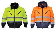 Warnschutzjacke 4-in-1 Funktion Arbeitsjacke Winterjacke, gelb/orange-marine