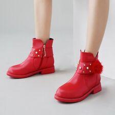 Women Winter Plus Lining Side Zip Warm Boots Metal Belt Buckle Girls Ankle Boots