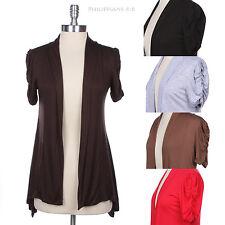 Shawl Collar Ruched Shirred Short Sleeve Open Solid Cardigan Handkerchief Hem