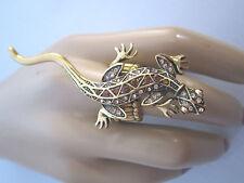 STRASS Damen Ring Fingerring Eidechse Gecko Salamander Kristall viele Farben R87