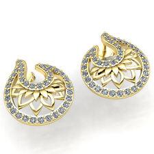 Genuine 1ct Round Cut Diamond Ladies Lotus Flower Stud Earrings 18K Gold