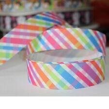 "5/10/50Y 7/8""22mm Colorful Cross Grosgrain Cartoon Printed Pattern Ribbon Craft"
