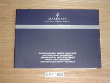Maserati Sales & Service Guide Booklet USA, Canada 2008