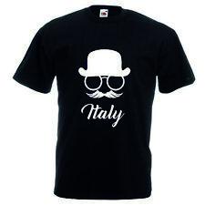 T-shirt maglia cotone donna uomo nera scritta italia cappello baffi occhiali