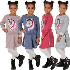Kinder Kleid Einhorn Wende Pailletten Sweatshirt Strick Silber Streifen Mädchen