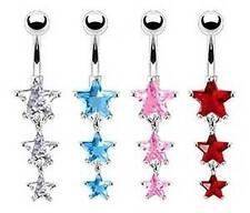 Crystal STARS - Dangle Belly Bar - Choose Colour - 6mm 8mm 10mm 12mm 14mm 16mm