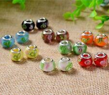 Fashion Flower Lampwork Glass Beads Fit European Charms DIY Bracelet Gift GSB306