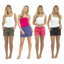 Womens Ladies Linen Summer Casual Shortie Shorts UK Size 10 12 14 16 18