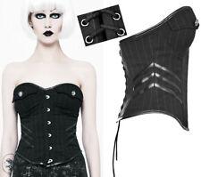 Corset top haut gothique lolita militaire sexy rayé bande cuir laçage Punkrave