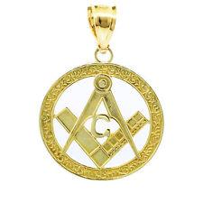"""Gold Freemason Small Round Masonic Bail Pendant 1"""""""