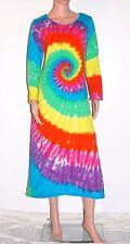 TIE DYE Women's Neon Rainbow Long Sleeve Dress sm med lg xl grateful dead hippie