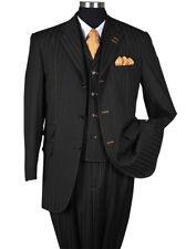 Men's 3 Piece Wool Feel Classic Striped Suit w/ Vest 5267 Black Size 38 - 56