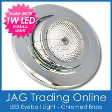 12V~24V 1W LED CHROME BRASS EYEBALL SWIVEL LIGHT-Boat/Caravan/Cabin/Bunk/Reading