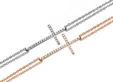 925 ECHT SILBER Zirkonia Kreuz Armband Armkette rhodiniert / Rotgold pl. 18-22cm