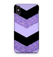 Púrpura Negro Comillas angulares Creative Estampado Purpurina Dazzle Cuero
