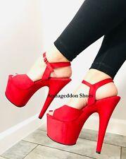 "7"" Inch Red Suede 1950s Pinup Girl Burlesque Dancer Stripper Heels Shoes Pleaser"