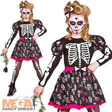 Skull Of The Dead Girls Fancy Dress Halloween Zombie Skeleton Kids Child Costume