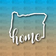 "Oregon HOME State Outline Cursive 5"" Custom Vinyl Decal"