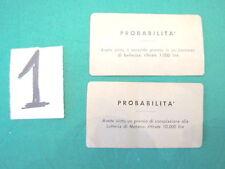 Gioco MONOPOLI vintage in lire 2 CARTE probabilità n. 1