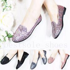 Para mujer Slip On Chatos Brillo Cuero Calado Mocasines EMBELLECIDO BOMBAS Cómodos Zapatos Talla