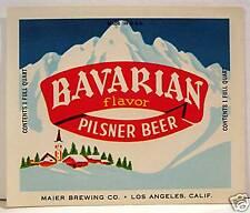 Maier Bavarian Pilsner Beer Bottle Label Los Angeles Ca
