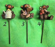 Whimsical Bear Flower Pot or Garden Pick Indoor Home Outdoor Patio Decor
