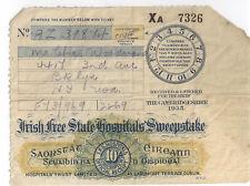 Irish Free State Hospitals Sweepstake Raffel Ticket-1935