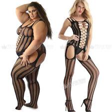 UK 6-28 Sexy Lingerie Babydoll Bodystocking Nightwear Striped Plus Size