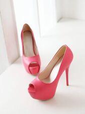 Stiletto Scarpe decolte eleganti donna tacco spillo plateau 13.5 rosa 9299
