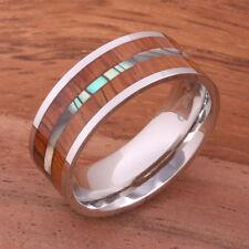 Abalone Koa Wood Ring Stainless Steel Flat Wedding Ring Mens Ring 8mm SLR6305