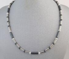 Neu Titan Titanium Kette Halskette Collier Silber Herren Damen Hämatit grau grey