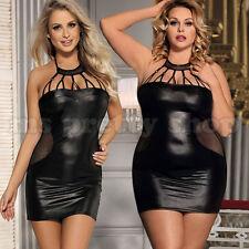 S M L XL 8 - 22 Black Faux Leather Wet Look Halter Neck Backless Mini Dress