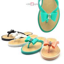 6adbf0fca9f3 Jelly Bow Rhinestone T-Strap Flip Flop Flat PVC Sandal Thong Slipper Soda  Tux