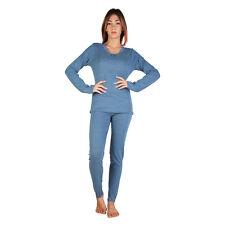 DATCH Damen Schlafanzug Pyjama lang Hausanzug Nachtwäsche, Blau, UVP: 80€