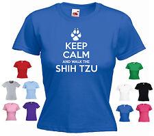 'Keep Calm and Walk the ShihTzu' Ladies / Girls Funny Dog Pet T-shirt Tee