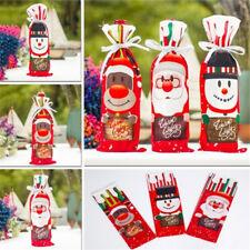 Christmas Snowman Santa Wine Bottle Cover Bag Xmas Dinner Party Table Decor BL3