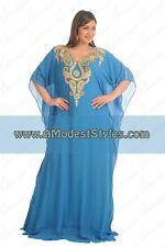 Blue DUBAI ABAYA KAFTAN Hijab Muslim Islam Wedding Dress *USA SELLER* MDfhs27