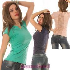 t-shirt femme t-shirt tee-shirt manches courtes strass dentelle neuf Y592