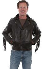 Scully Men's Black Leather Fringe Motorcycle Jacket 1025