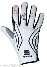 Sportful guanti bici ciclismo felpati bike gloves bianchi white mtb road guanto