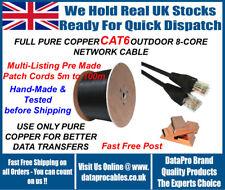 5 M - 100 M Nero Outdoor Esterno Cavo ETHERNET DI RETE CAT6 Patch in Rame 100%
